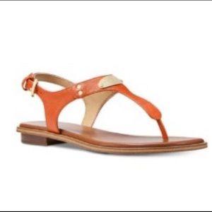Michael Kors MK Plate Thong Leather- Tangerine 🧡